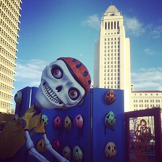 "Morning of the day of the dead at Grand. Park.  Los Angeles city hall with the ""fallen bicyclist "" altar. Enjoy"