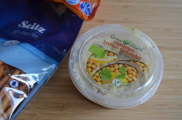 Germany gluten-free pretzel taste test_ lemon coriander hummus for dipping