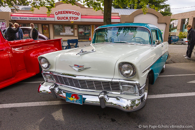 Blue & White 1956 Chevy Front