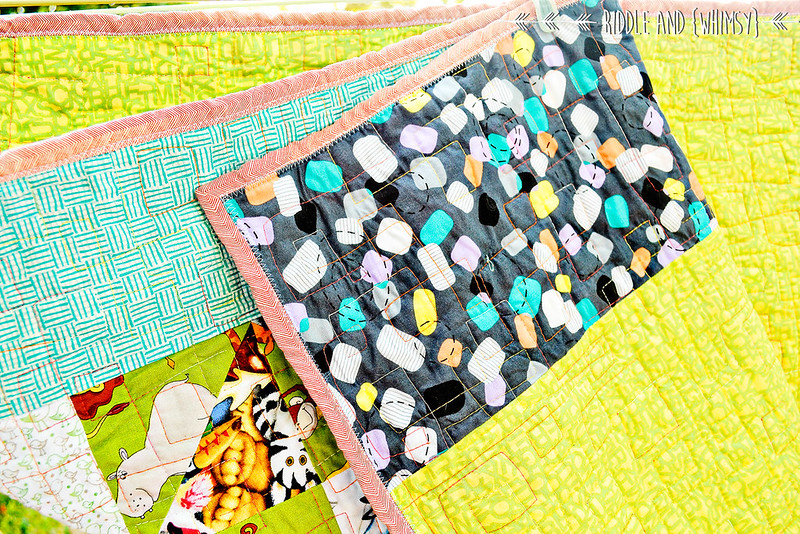 Riddle and {Whimsy} Charity quilt (binding, back)