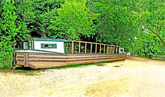 An old restoration of a horse drawn barge on the Chesapeake & Ohio Canal near Washington DC in Maryland - 2007