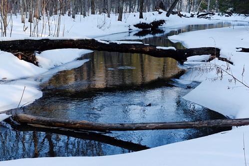 water stream creek indiankill indiankillnaturepreserve park nature hike winter winterlandscape reflection reflectioninwater snow white outdoor glenville capitaldistrict newyork schenectadycounty pentax pentaxart smcpentaxfa35mmf2al k70 kmount texture