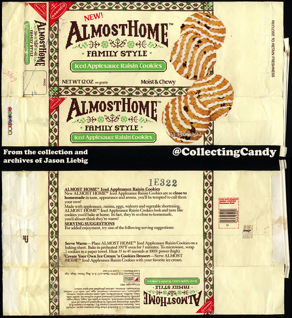 Nabisco - Almost Home Family Style Cookes - Iced Applesauce Raisin - NEW - 12oz cookie snack package - 1983