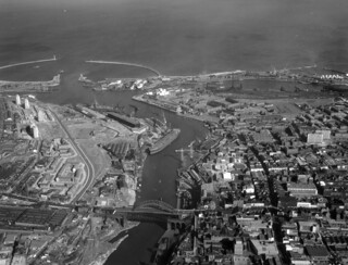 Aerial view of the River Wear, 1964