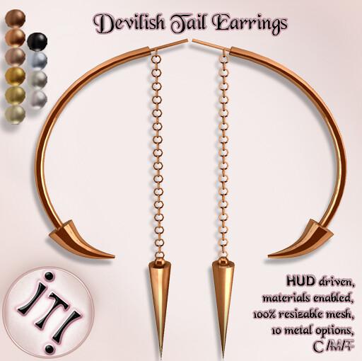 !IT! - Devilish Tail Earrings Image - SecondLifeHub.com