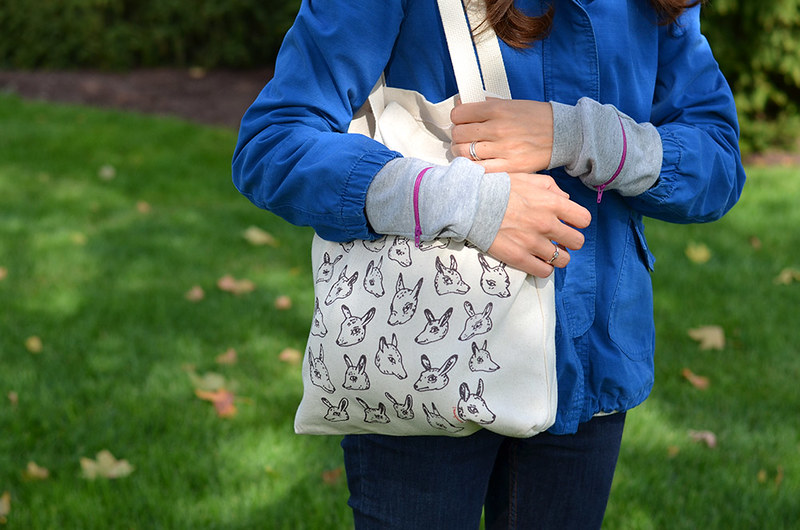 Grey Wrist Zips with Animal Heads Tote