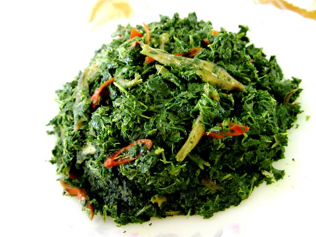 Fried daun bandong with ginger, ikan bilis & chilies 2