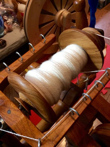 Plied hand-combed Romney lamb's wool on Watson Martha spinning wheel