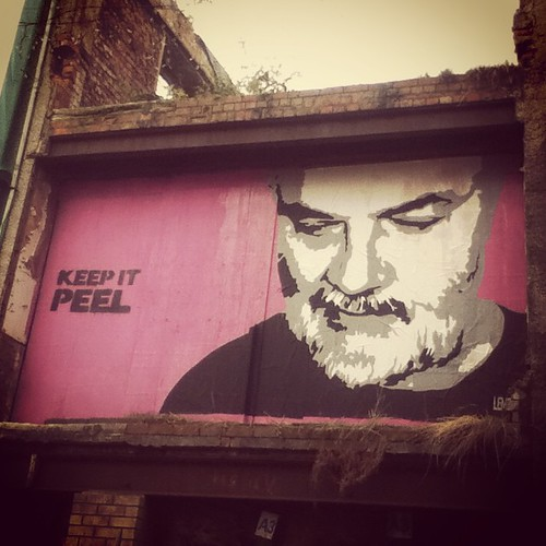 Portrait of John Peel outside Clwb Ifor Bach, Cardiff.