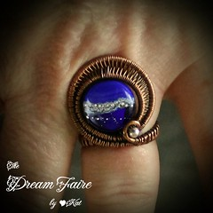 Blue Moon - Lampwork and Copper Wire Woven Adjustable Ring