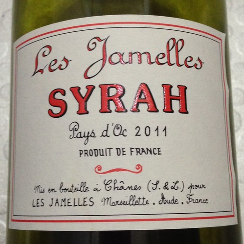 Les Jamelles, Syrah, 2011. Red wine. French wine. Wine.