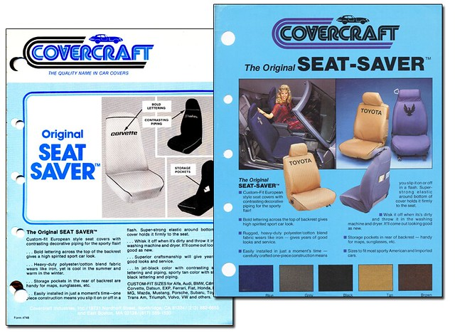 Covercraft history SeatSaver product information from 1981