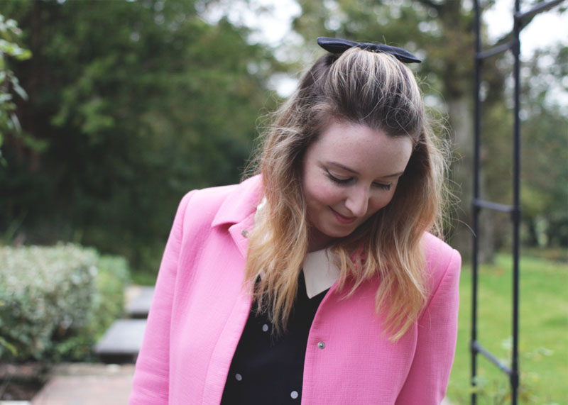 Pink Coat, Bow in Hair, Bumpkin Betty Style Blog