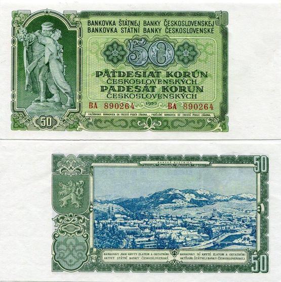 50 Kčs I. Päťdesiat korún Československo 1953