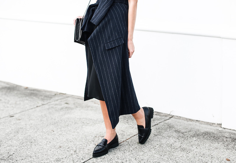 modern legacy fashion blog Australia pinstripe Zara coat street style Topshop cami silk slip dress Senso navy loafers Alexander Wang Envelope Prisma bag (8 of 10)