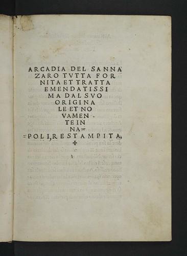 Title-page of Sannazaro, Jacopo: L'Arcadia