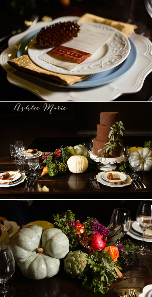 mixing different place settings creates more textures and color on your table, using fall foods in the centerpiece creates a great statement piece