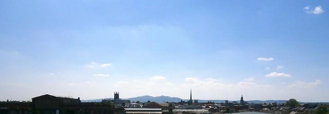Worcester skyline to Malvern Hills from Shrub Hill 05-14