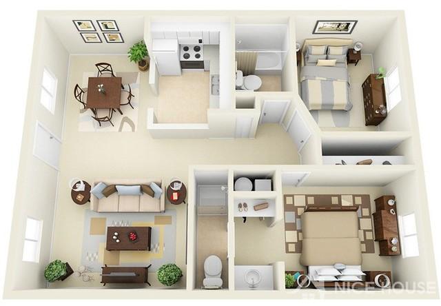 Thiết kế căn hộ chung cư 2 phòng ngủ 7