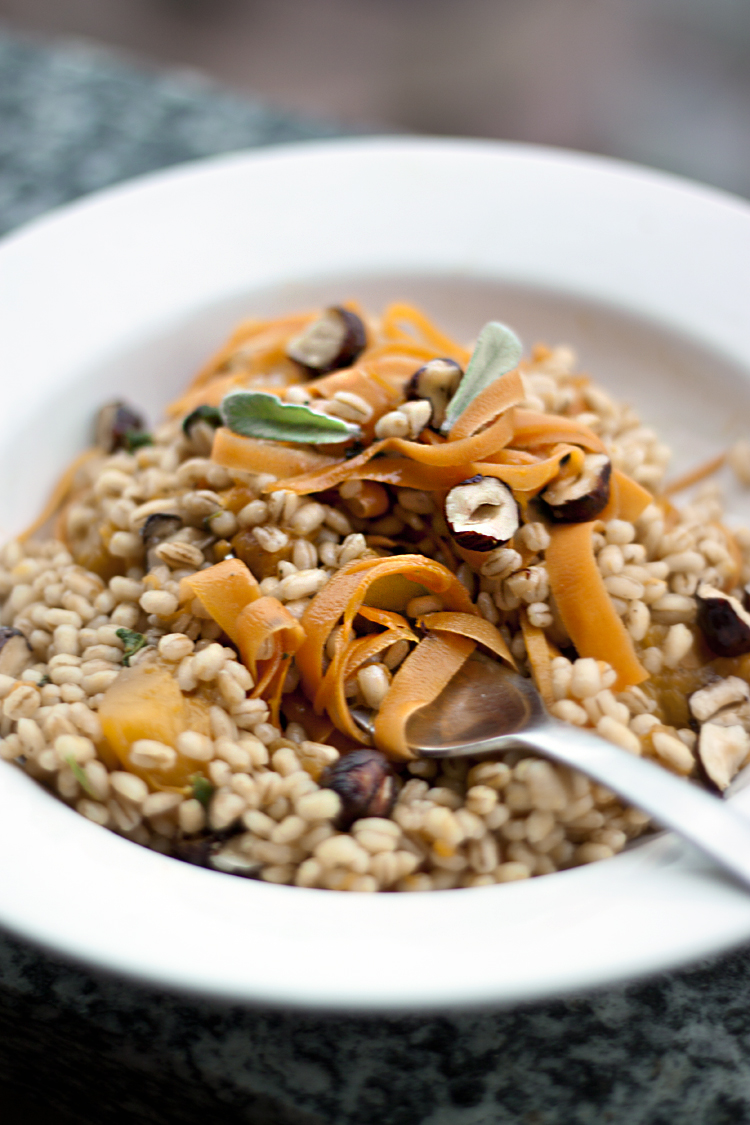 barley with pumpkin and carrot, sage and hazelnuts