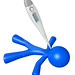 3d Blue Man with Digital Thermometer