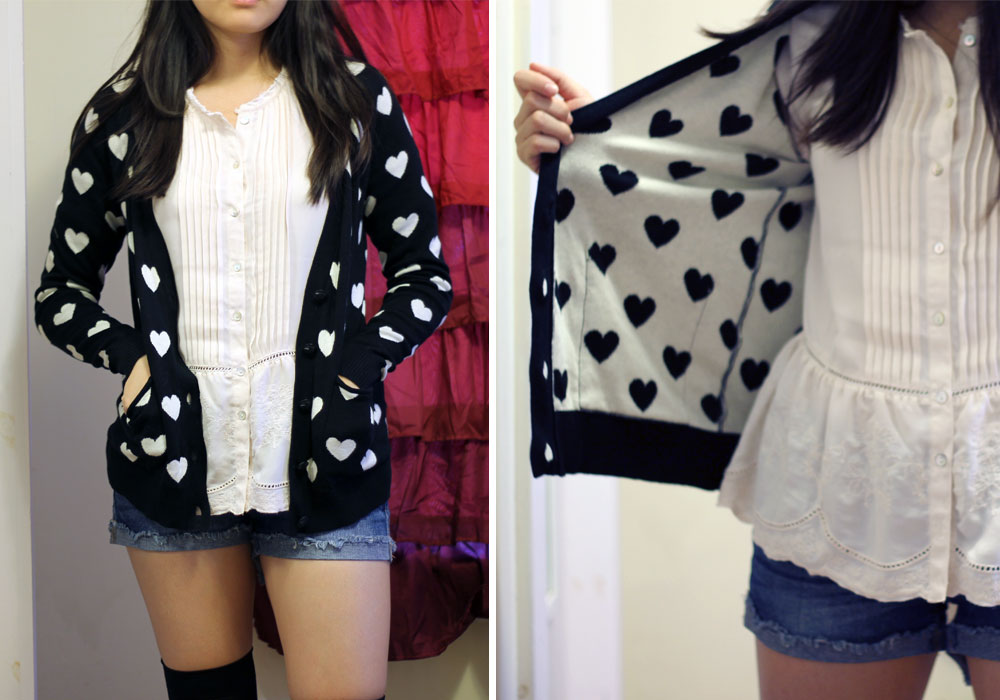 Forever21 heart print cardigan