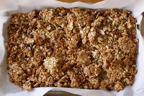 Browned granola clusters