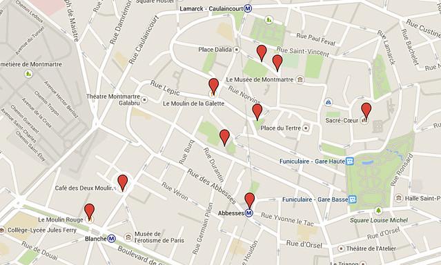 Mapa Montmartre
