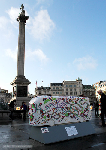 TfL Year of the Bus Sculpture Trail Launch in Trafalgar Square - Bus Sculpture by Rod Hunt 5