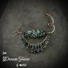 Ocean Relic - Copper, Sterling & Artisan Lampwork Fibula Shawl Pin