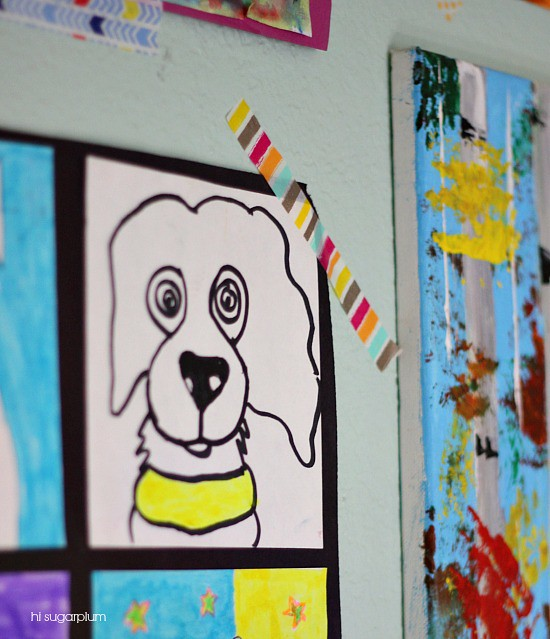 Hi Sugarplum | Gallery Wall of Kid's Art