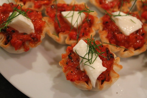 pepper-mozzarella tarts