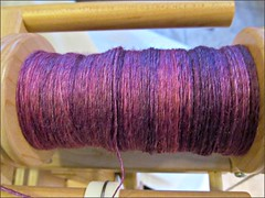 Lilac handspun, in progress
