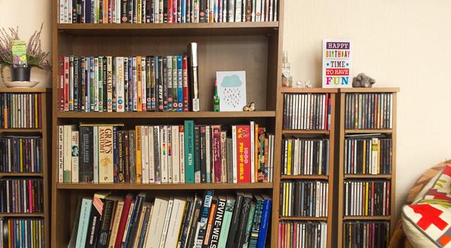 book shelf and cd racks