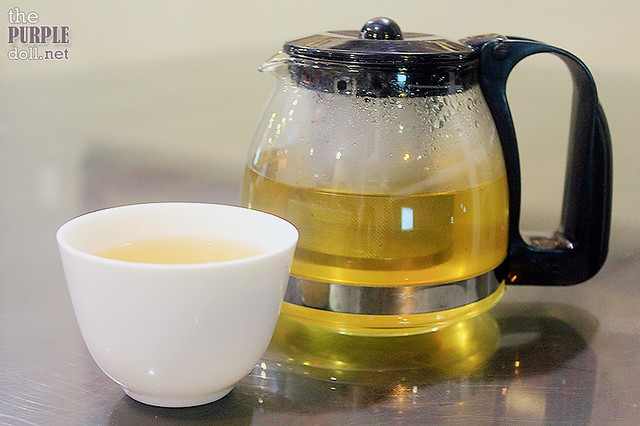 Complimentary oksusu cha or corn tea