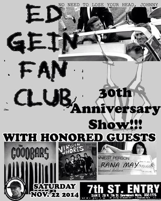 11/22/14 Ed Gein Fan Club/ The GooDBarS/ Virgin Whores/ Rana May @ 7th Street Entry, Minneapolis, MN