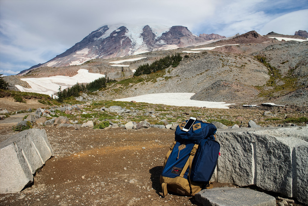 The Tom Bihn Guide's Pack in front of Mount Rainier