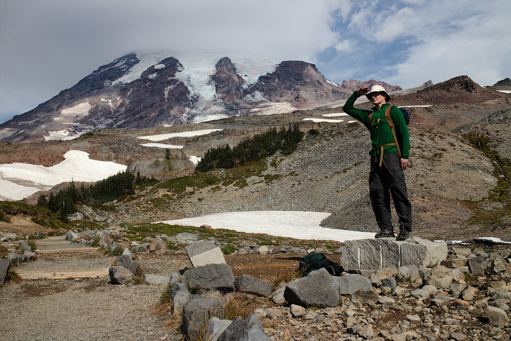 Rick Cameron poses in front of Mount Rainier