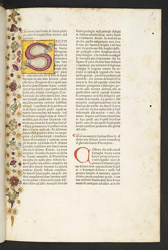 Illiminated initial and decoration in Hieronymus: Vitae sanctorum patrum, sive Vitas patrum [Italian]