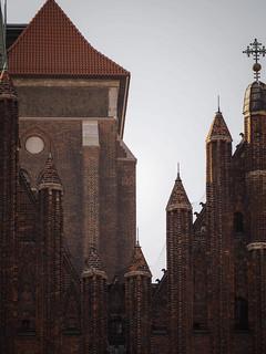 Image of Bazylika Mariacka. brick church cathedral gothic roofs marienkirche gdansk danzig mariacka bazylika backsteingotik