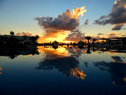 reflection water clouds sunrise day cloudy djerba sum tunesien