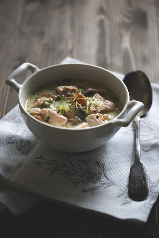 Суп из семги с пореем