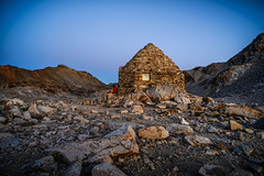 Hut on Muir Pass at sunset