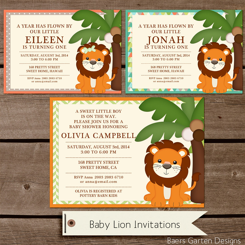 Baby Lion Birthday and Baby Shower Printables