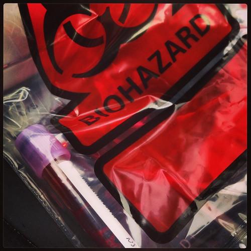 My very own bio-hazard bag and everything!