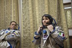 Samantha wearing her Sokol spacesuit