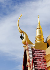 The gable roof of Thai Temple close up background