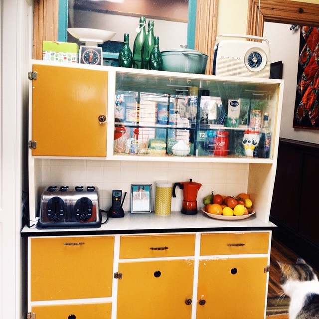 My new kitchen dresser I found at the opshop. Still deciding what colour to repaint it. Thinking pastel green?