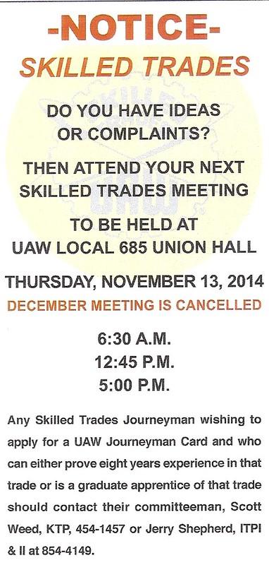 Skilled Trades November-December Meeting Notice 20140001