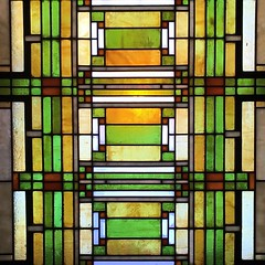 Final post for the day! Love the colors in the original stained glass panels in FLW's home.